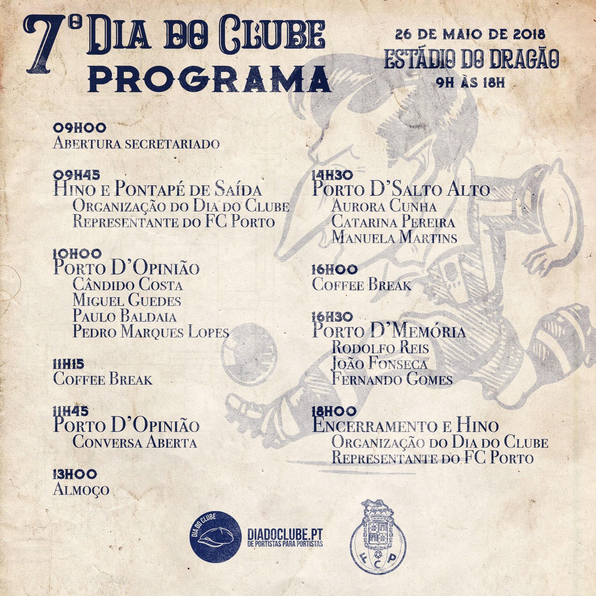 7º Dia do Clube – Programa completo